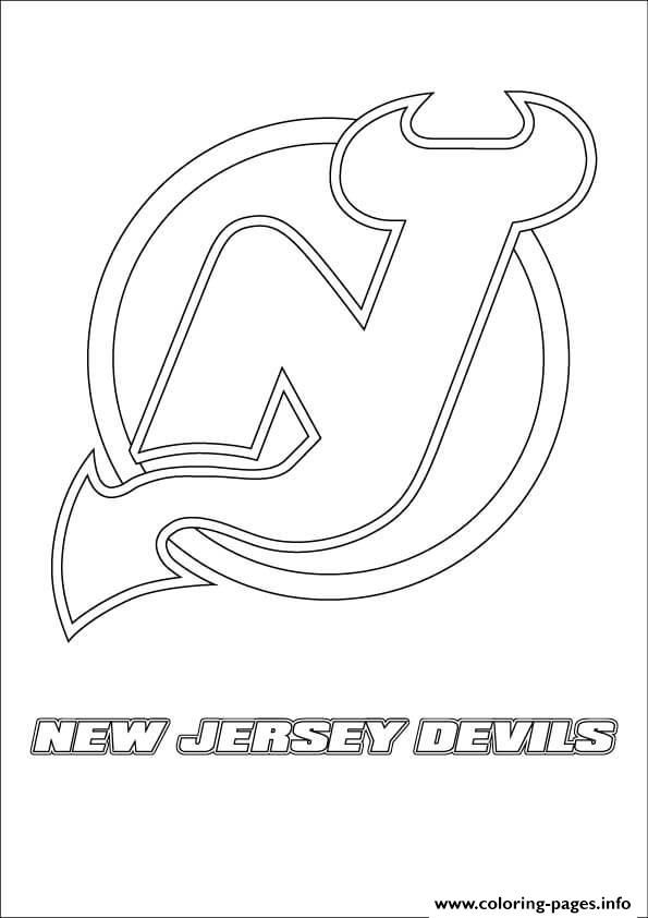 Print New Jersey Devils Logo Nhl Hockey Sport Coloring Pages