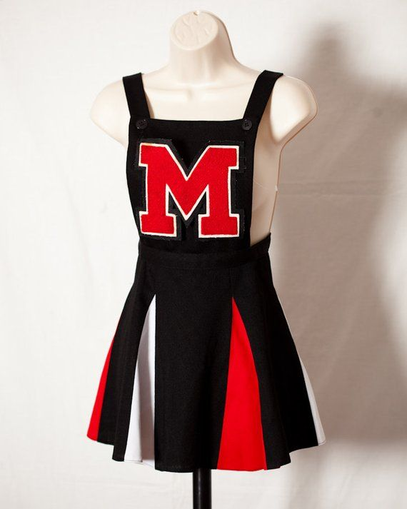 6dc30105fa Vintage Cheerleader Uniform one-piece pleated skirt black red white ...