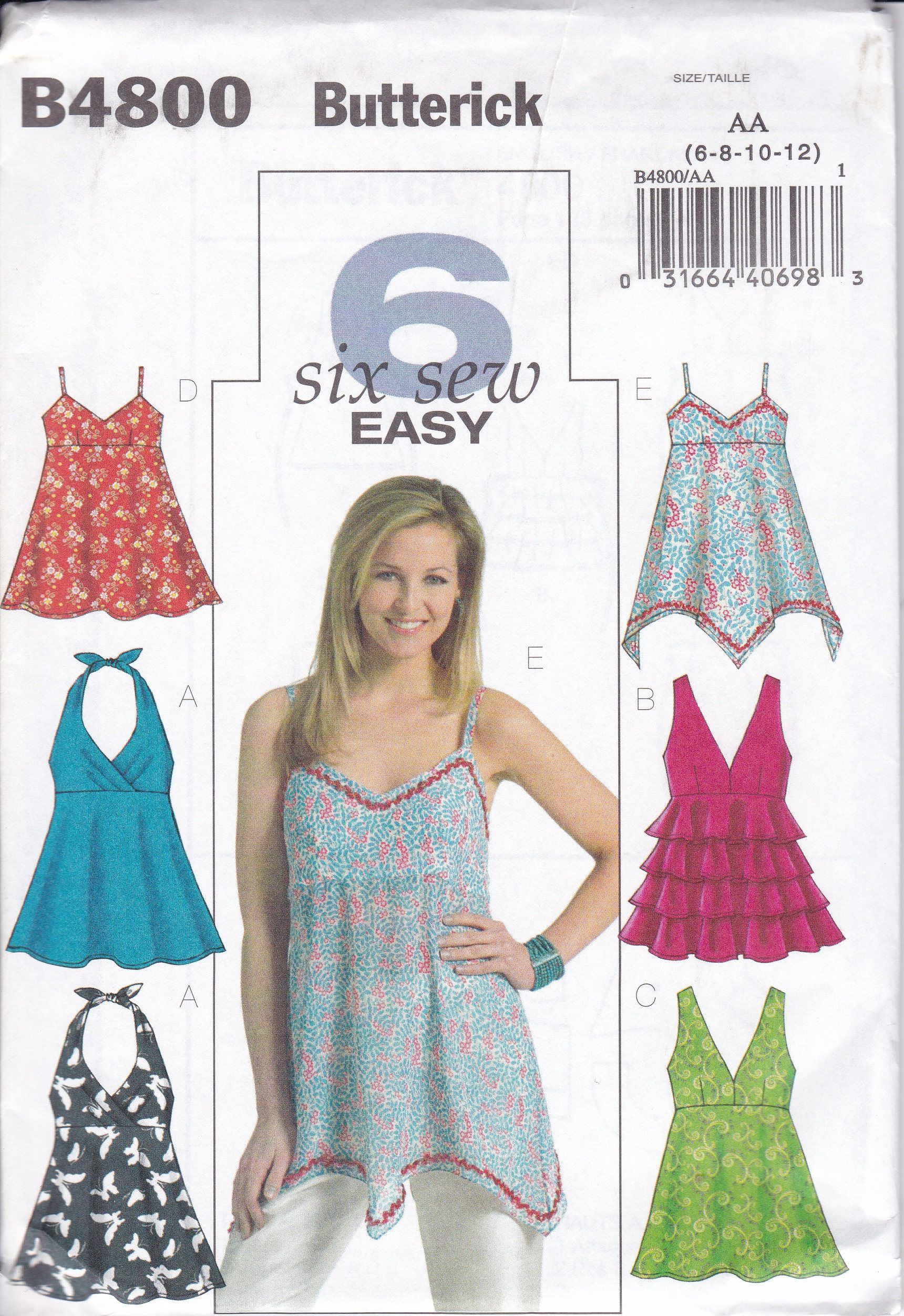 FREE US SHIP Butterick 4800 Sewing Pattern 6 Easy Halter Tops Summer ...