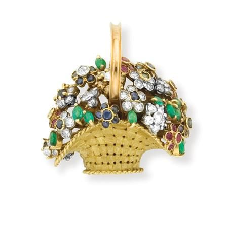 Important Estate Jewelry - Sale Gold, Colored Stone and Diamond Basket Brooch Signed Antoniozzi, # F5530, ap. 12.7 dwt.