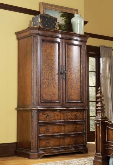 Beladora armoire hooker furniture beladora collection home gallery stores everything in for Master bedroom set with armoire
