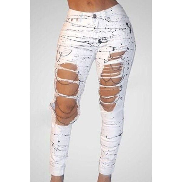White Oil Print Ripped High Waist Pockets Skinny Jeans 31 Liked On Polyvore Featuring Jeans Ripped Jeans White Di Jeans Outfit Women Women Jeans Fashion