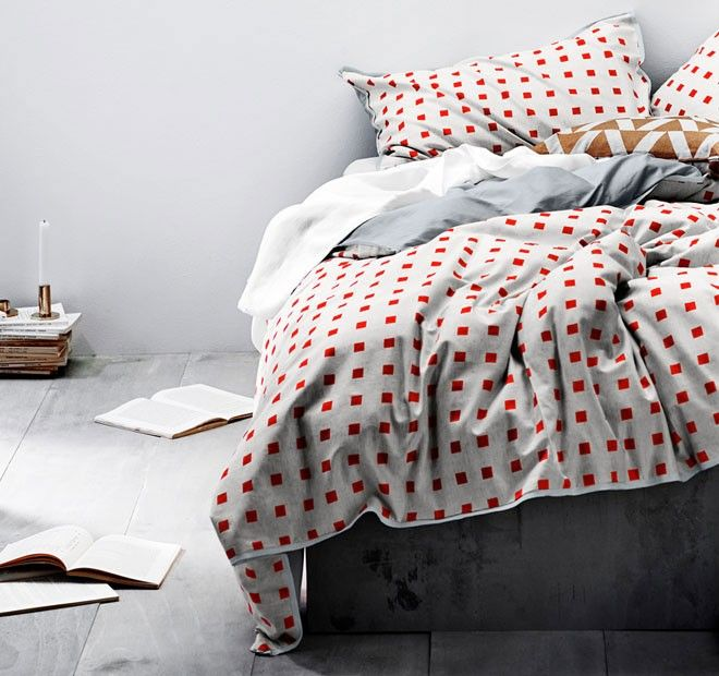 Squares Quilt Cover Range Fiery Coral - Quilt Covers - Bed | Manchester Warehouse