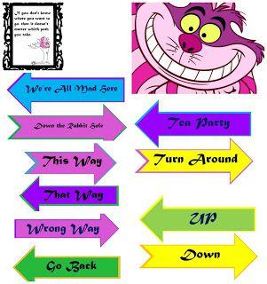 Diy Alice In Wonderland Directional Sign Post Free Printable