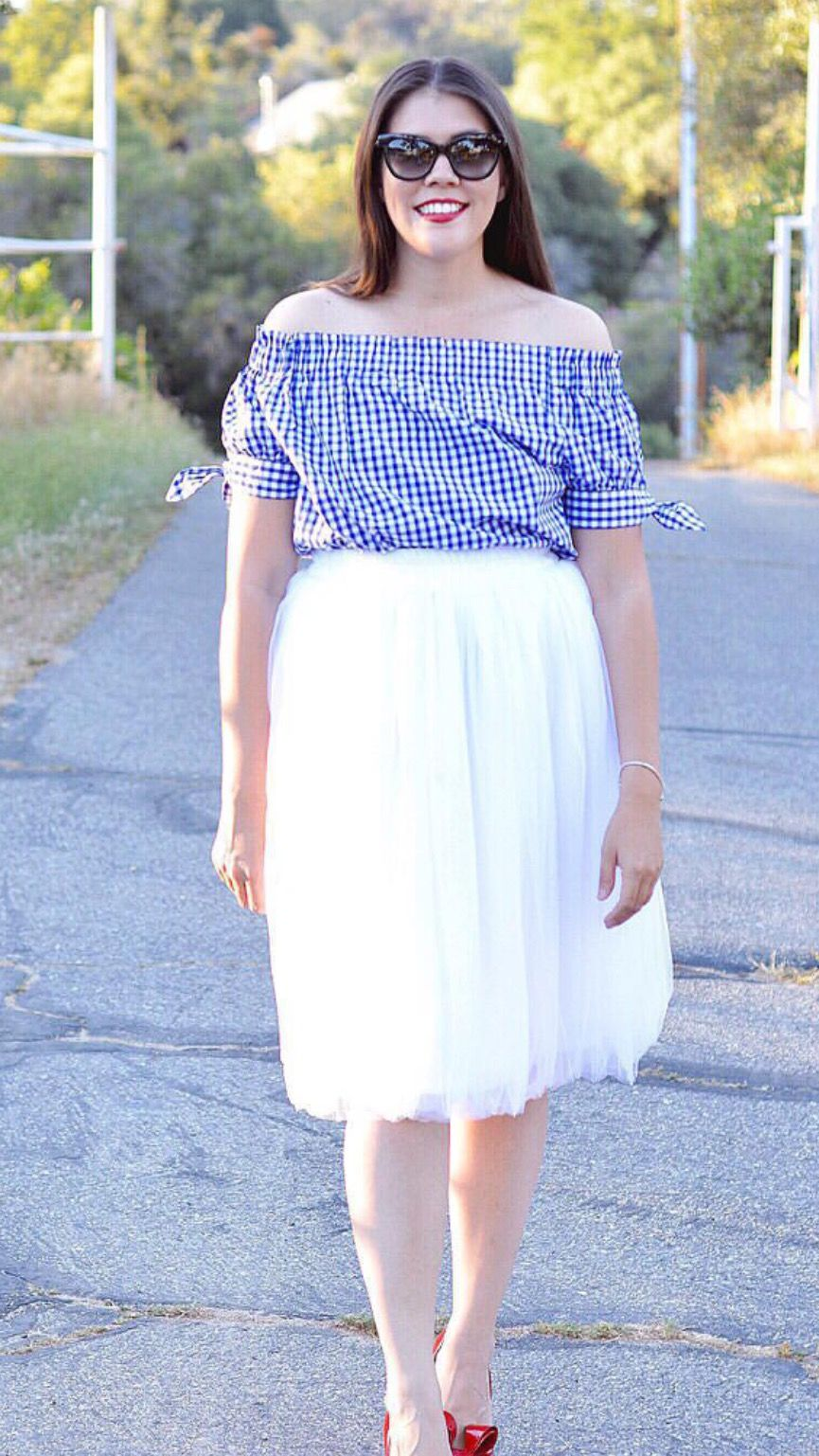 Claire white soft tulle skirt below knee midi think print