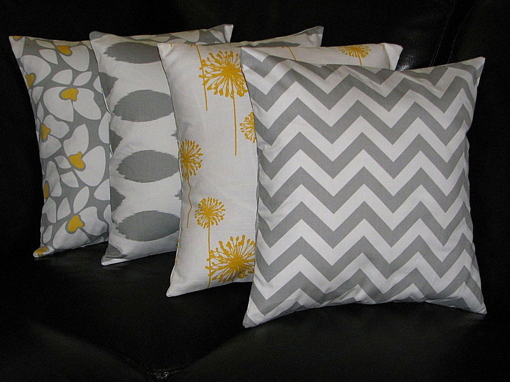 Decorative Pillows Grey Throw Pillows Four 20 Inch Pillow Covers Floral Ikat Dandelion Chevron 20 Grey Grey Throw Pillows Decorative Pillows Throw Pillows