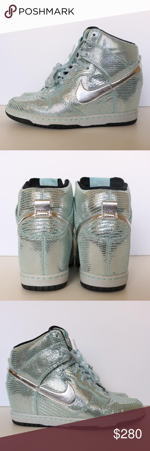 the latest d884d 7aa91 Nike dunk sky hi QS wedge disco ball silver shoes Nike dunk sky hi high qs  wedge Disco ball silver liquid metal Size 6 women 637991 001 Preowned Im ...