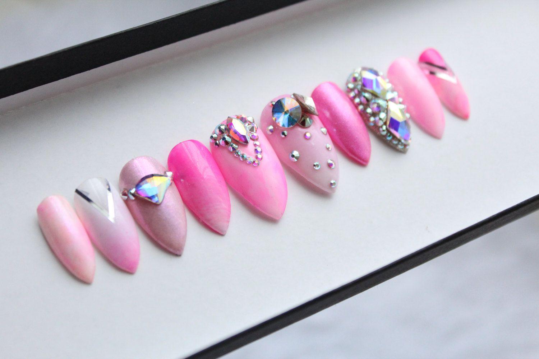 d5580f6c916 Pink Ombre Swarovski Press on Nails | Summer | Watercolour | Silver | Nail  Art | False Nails | Glue On Nails by DippyCowNails on Etsy
