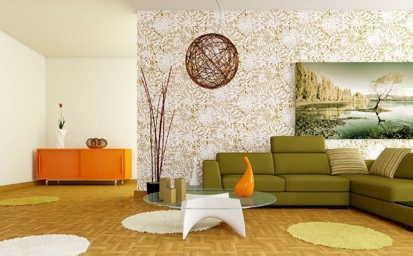Ordinaire Retro White Orange Green Living Room Design With Round Glass Desk And  Wooden Floor
