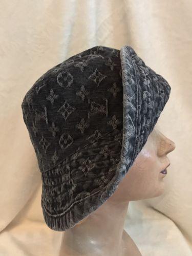 8110afc2f21 LOUIS VUITTON LV BLACK DENIM Monogram 100% Cotton BUCKET HAT LARGE RARE!!