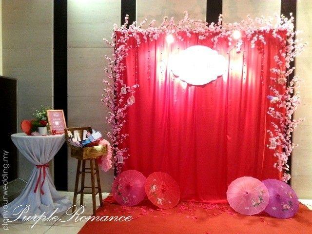 Chinese Indoor Reception Decorations Photo Booth Sakura Theme 68394