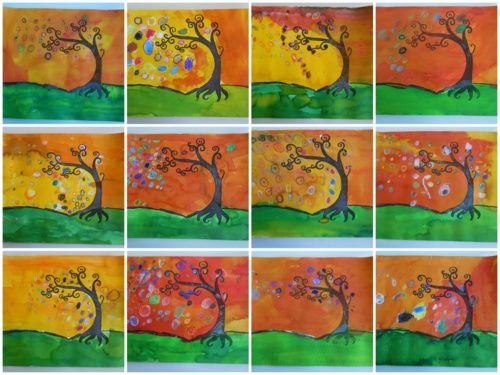 L 39 arbre en automne arts visuels automne pinterest for Art plastique peinture