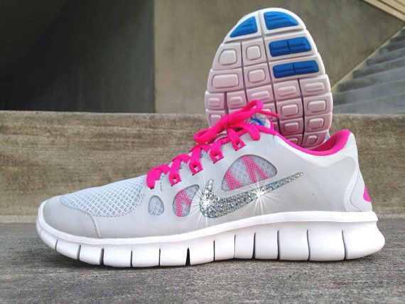 a6d91d5463de New In Box Women s Nike Free Run 5.0 Running Shoes 580565-046 with  Customized Swarovski Crystal Swoosh PInk Grey Blue