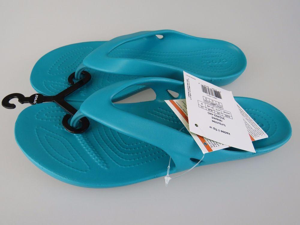 99b8eda85e563 CROCS Kadee II Turquoise Relaxed Flip Flop Sandals Shoes Women s US 10 NEW   Crocs  FlipFlops