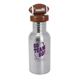Take our classic 17 oz. stainless steel water bottle and combine it with this unique and innovative football lid and you get one heck of a bold promotion! These bottles include a wide opening for adding ice cubes to an refreshing beverage. Football shaped sport-theme screw top lid. Promotional Nichebottle Stainless Steel Water Bottle With Football Lid, 17 Oz #9275095