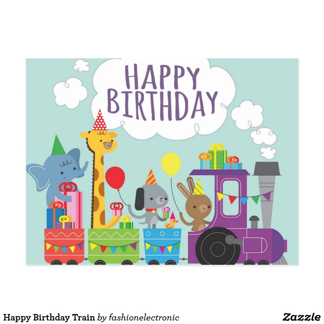 Happy Birthday Train Postcard Zazzle Com In 2021 Happy Birthday Kids Happy Birthday Animals Happy Birthday Cards