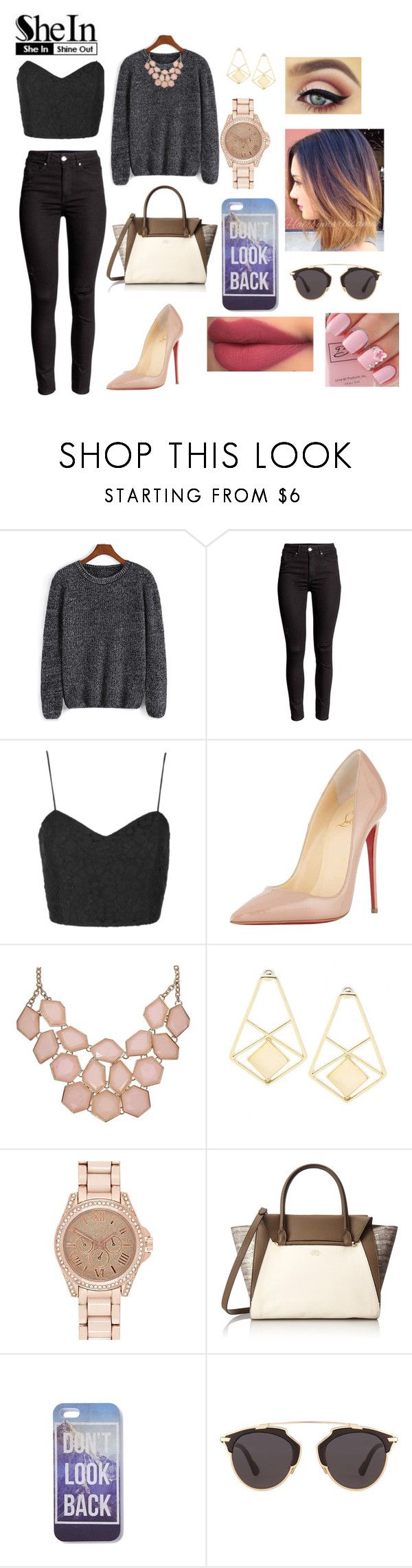 """Untitled #350"" by anacacho ❤ liked on Polyvore featuring Topshop, Christian Louboutin, River Island, Vince Camuto, Christian Dior, women's clothing, women, female, woman and misses"