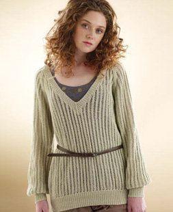 2aeb2a276 Free knitting pattern - Slouchy Lace Sweater by Marie Wallin in Rowan Wool  Cotton 4 Ply