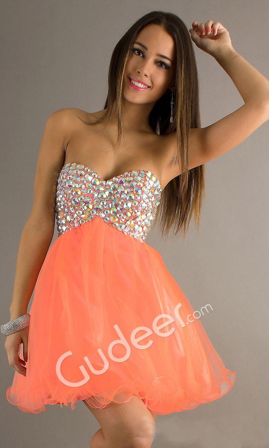Short Coral Strapless Dress