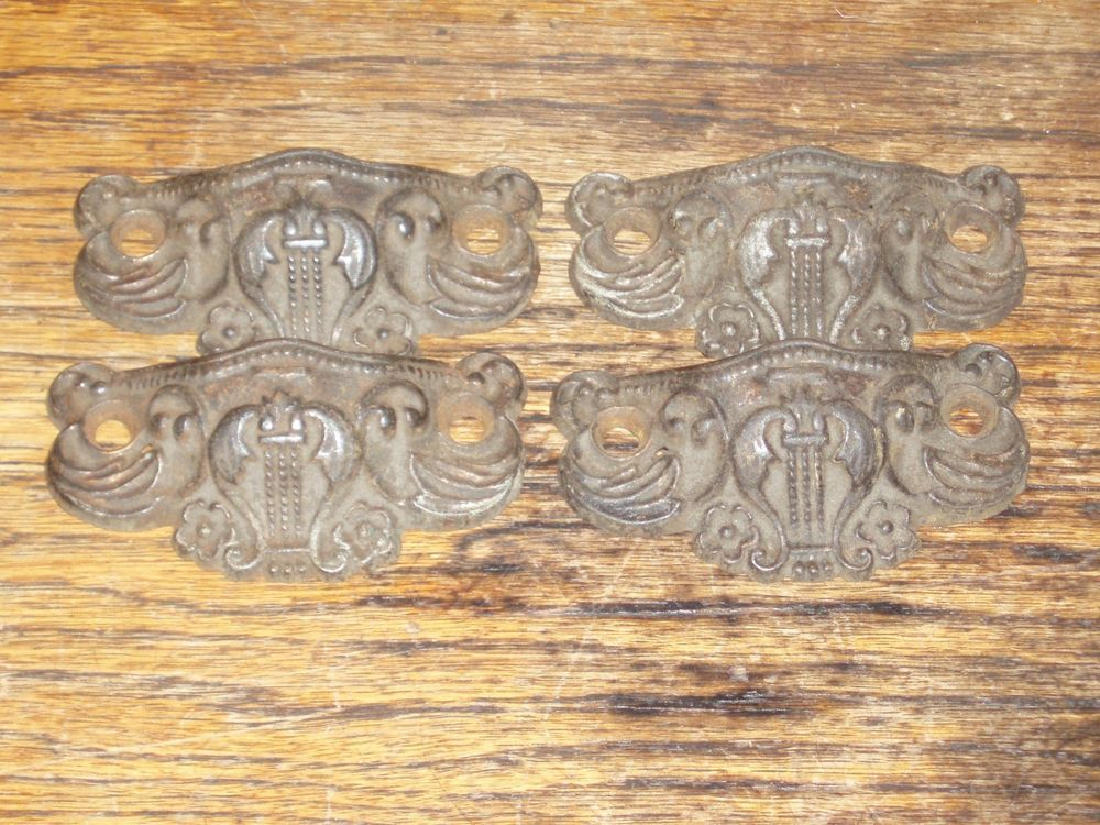 4 Late 1800 S Early 1900 S Victorian Cast Brass Bin Pulls Harp Design Antique Drawer Pulls Victorian Antiques