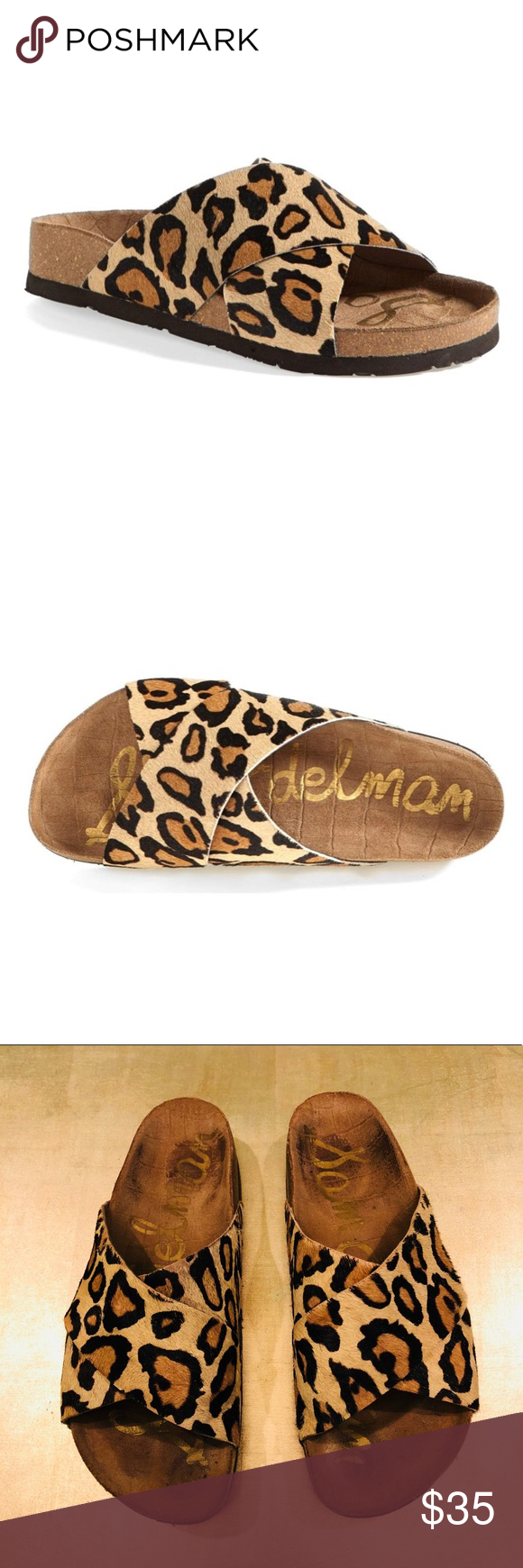 581ab822921246 Sam Edelman Leopard Brahma Adora Sandal Bold crossover straps a playful  slide sandal with a sturdy rubber sole. This shoe runs small. I normally  wear a 5.5.