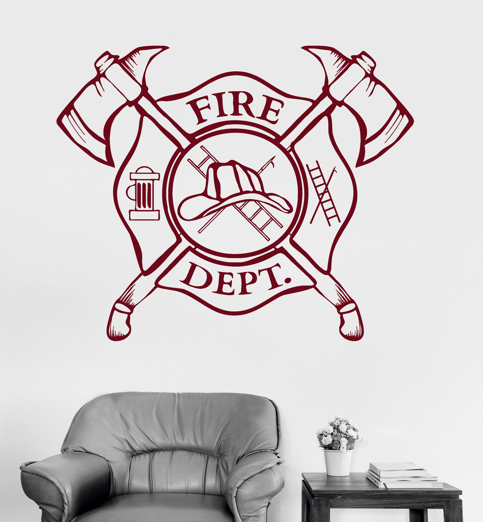 Vinyl Wall Decal Fire Department Emblem Shield Firefighter - Locations where sell wall decals