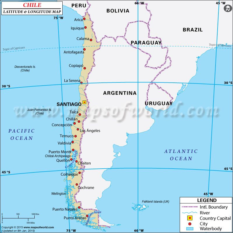 Chile Latitude And Longitude Map CHILI Pinterest - Argentina map latitude