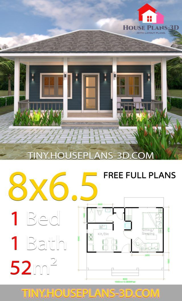 Small House Plans 8x6 5 With One Bedrooms Hip Roof Tiny House Plans Small House Design Plans House Plans One Bedroom House