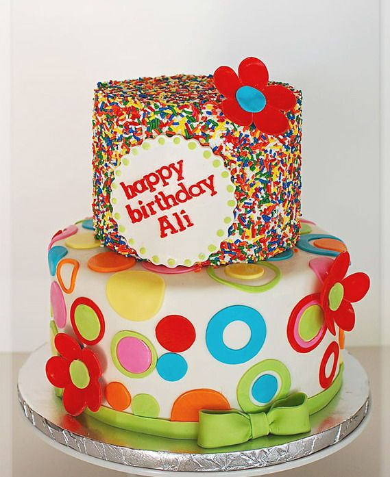 Dotted sprinkles birthday cake