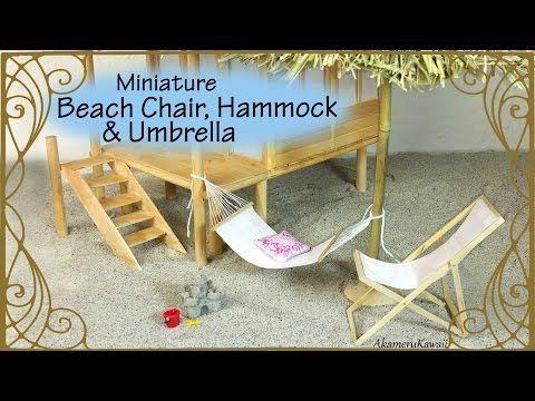 Miniature Beach Chair, Hammock & Umbrella  Doll Tutorial