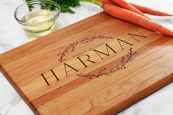 Personalized cutting board engraved with first last name established date custom cutting boards
