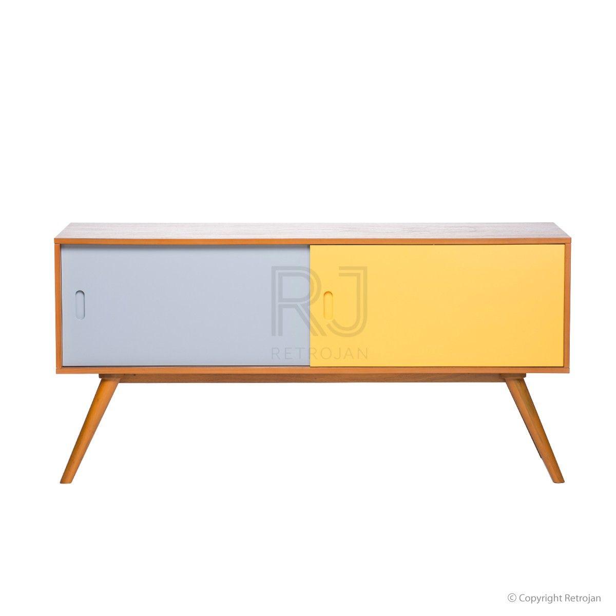 Retro Credenza Gwyneth Danish Credenza Sideboard Walnut Blue Yellow