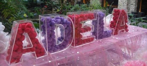 7 8 Inches Set Of 5 Acrylic Fillable Letters Table Decor