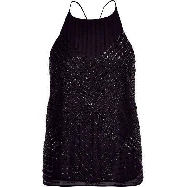 4c1ea675218fb8 River Island Navy blue embellished cross back cami ( 16) ❤ liked on  Polyvore featuring tops