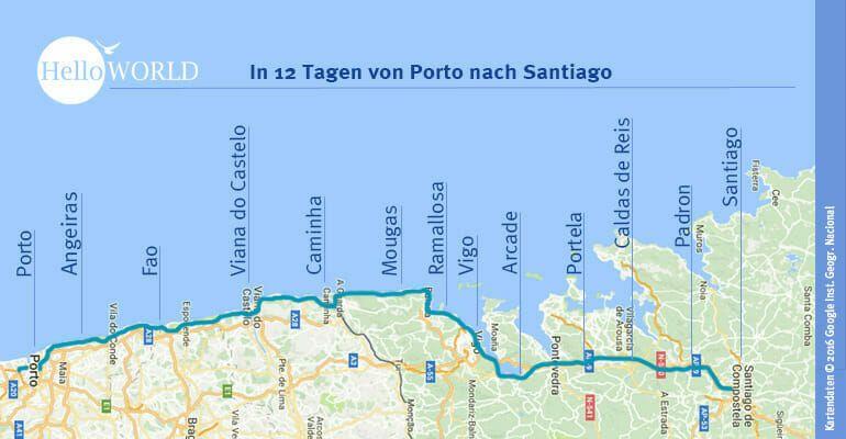 Camino Portugues Etappen Jakobsweg Camino Portugues Und
