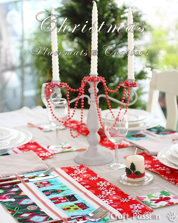 Christmas Placemats Coasters Set Free Sewing Pattern Craft Passion Christmas Placemats Diy Christmas Gifts Quilted Christmas Gifts