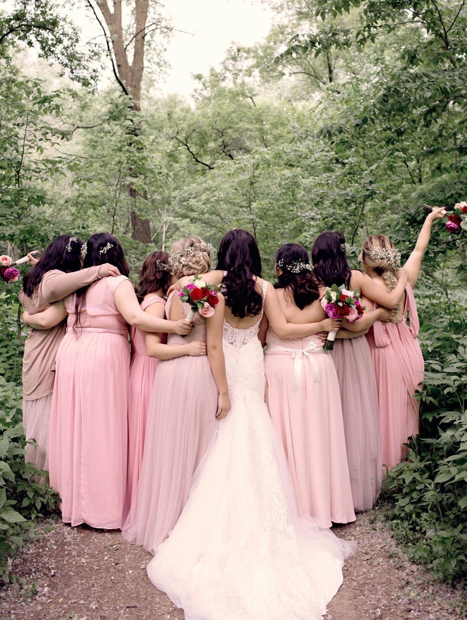 Mismatched pink bridesmaids dresses wedding pinterest wedding mismatched pink bridesmaids dresses ombrellifo Images