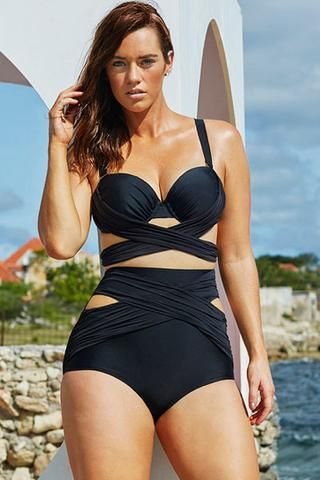 89d3ff6607 Grande Taille Maillots De Bain Noir Wrap Underwire Bikini Taille Haute