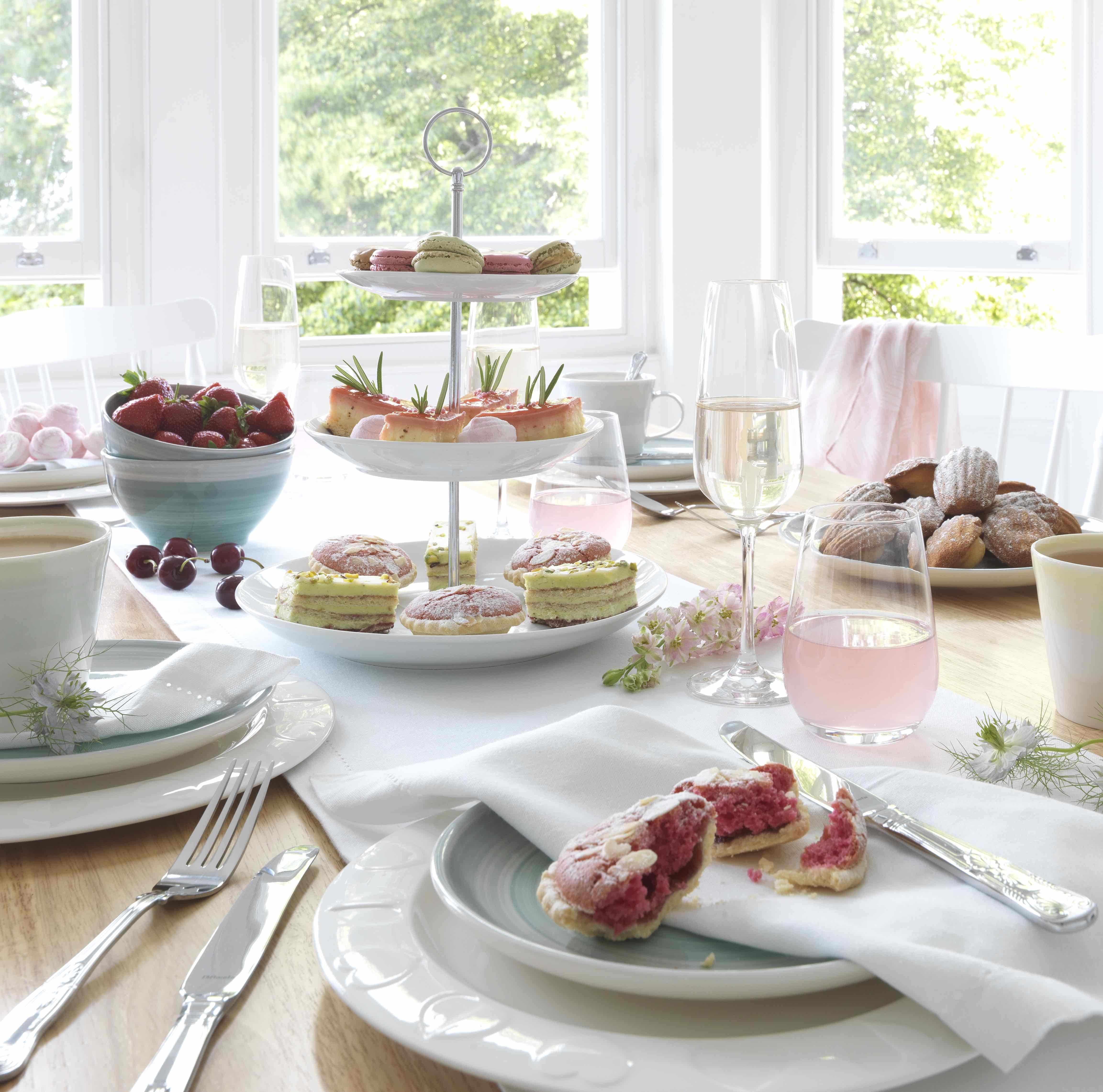 Serve afternoon tea from a delicate cake stand and stacks of classic ...