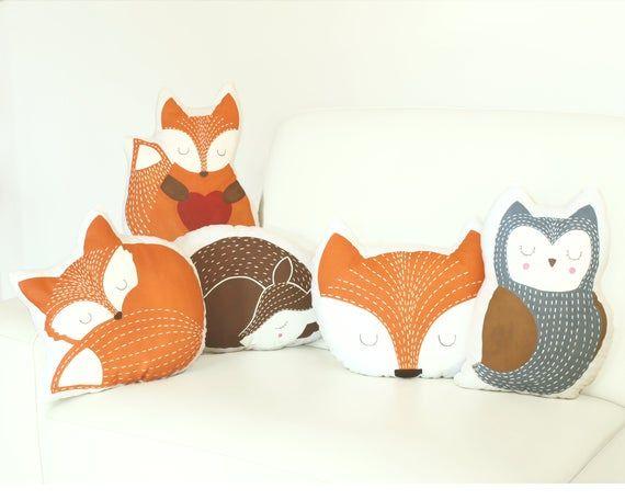 Woodland nursery decor - animal pillows for baby room, Fox Owl Deer plush cushions, kids bedroom decoration