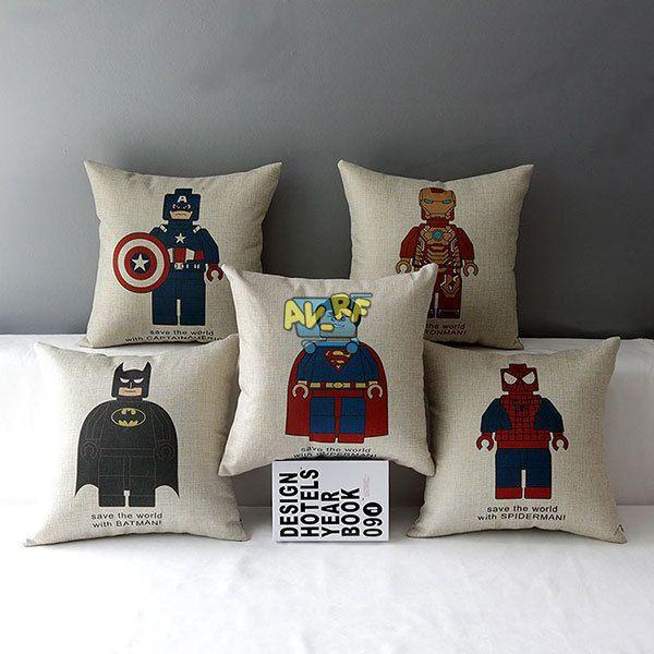 Sofa Car Square Pillow Case Cotton linen Super Heros Decorative Cushion Cover