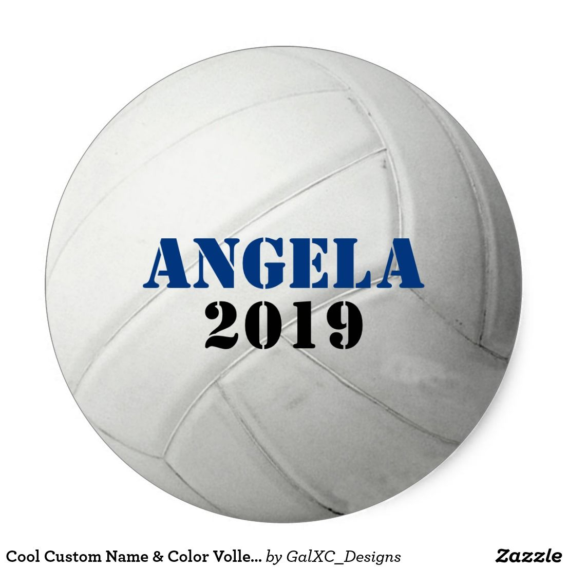 Cool Custom Name Color Volleyball Team Sports Classic Round Sticker Volleyball Team Making The Team Volleyball Images