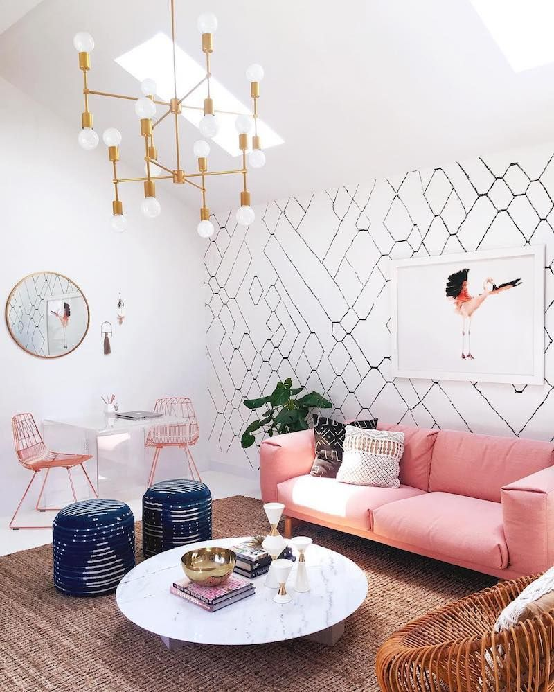 Pink Couch With Marble Coffee Table And Branch Gold Lighting Home Decor Interior Decor #pink #couch #living #room #ideas