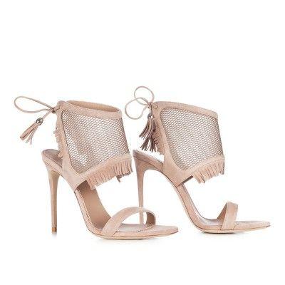 LE SILLA Net Sandal In Velour, Suede Calfskin In Pompei Colour H.110 Mm. #lesilla #shoes #sandals