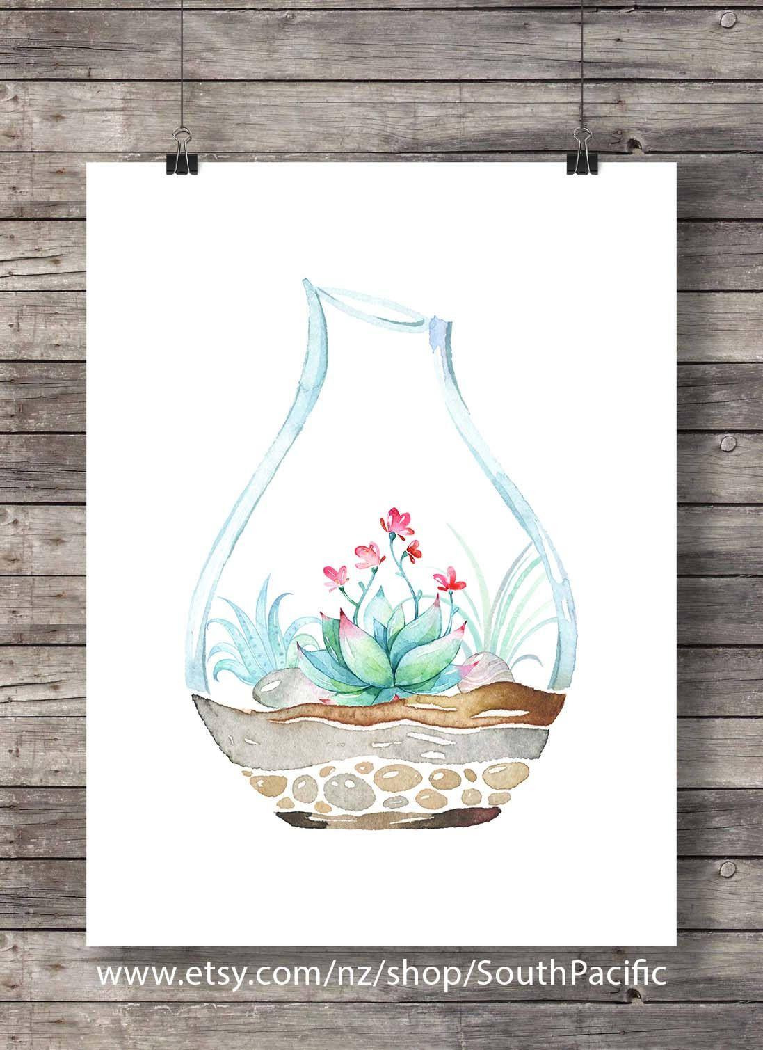 Charming Printable Art | Succulent Terrarium Art Print | Watercolor Cactus | Hand  Painted Botanical Cactus |