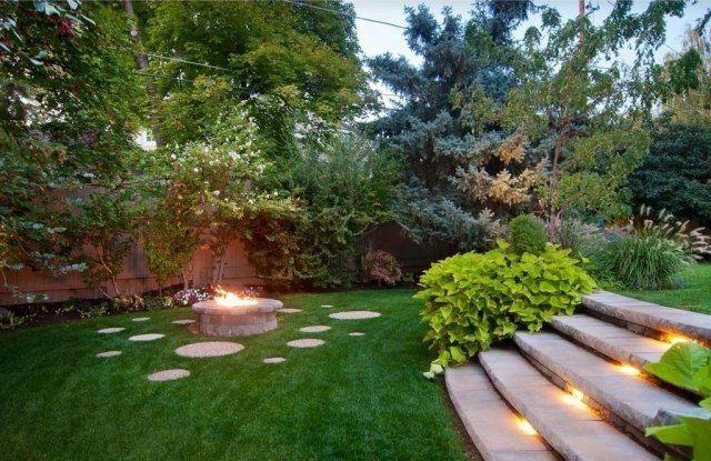 ausleuchtung für treppen im garten-feuerschale als mittelpunkt, Gartengestaltung