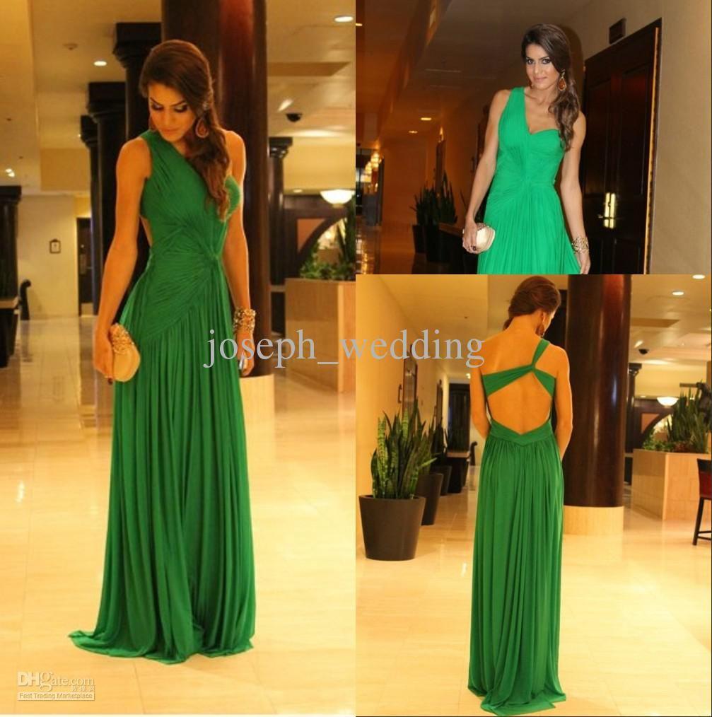 Zed emerald green a line one shoulder chiffon floor length