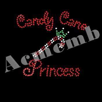 Candy Cane Princess Rhinestone Transfer Iron On Heat Press Motifs