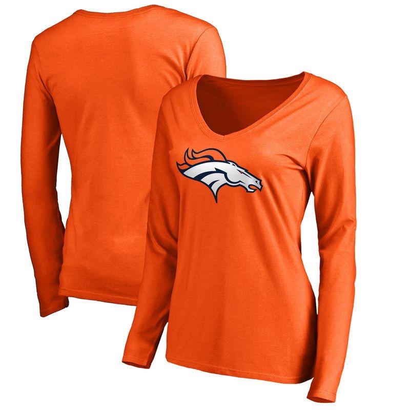 Denver Broncos NFL Pro Line by Fanatics Branded Women's Primary Logo Long Sleeve T-Shirt - Orange