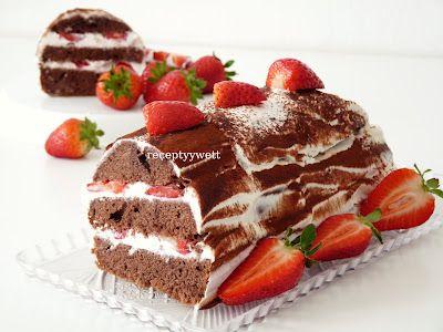 receptyywett: Kakao Kuchen mit Erdbeeren